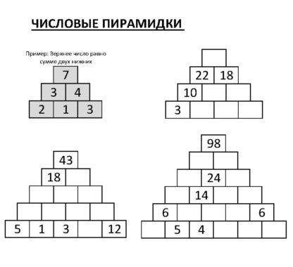 Числовые пирамиды для детей